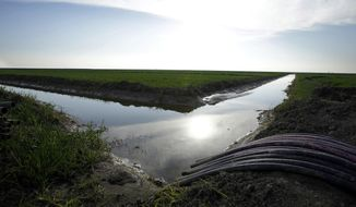 FILE - In this Feb. 25, 2016 file photo, water flows through an irrigation canal to crops near Lemoore, Calif. A spokesman for the U.S. Department of the Interior said Wednesday, Oct. 25, 2017, that the Trump administration will not support a giant California water project sought by Gov. Jerry Brown. (AP Photo/Rich Pedroncelli, File)