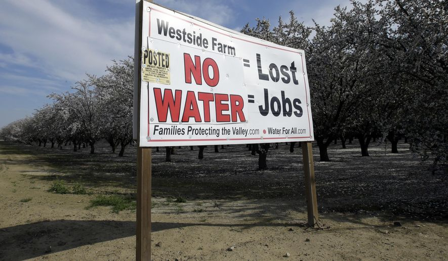 FILE - In this Feb. 25, 2016, file photo, a sign calling attention to the loss of jobs blamed on the lack of water is displayed near Lemoore, Calif. A spokesman for the U.S. Department of the Interior said Wednesday, Oct. 25, 2017, that the Trump administration will not support a giant California water project sought by Gov. Jerry Brown. (AP Photo/Rich Pedroncelli, File)