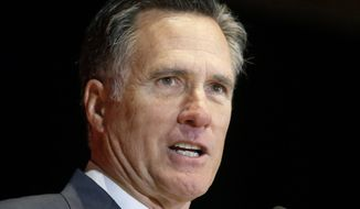 In this March 3, 2016, file photo, former Massachusetts governor and presidential candidate Mitt Romney speaks at the University of Utah in Salt Lake City. (AP Photo/Rick Bowmer, File)