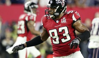 FILE - In this Feb. 5, 2017, file photo, Atlanta Falcons' Dwight Freeney follows the action against the New England Patriots during the NFL football's Super Bowl 51 in Houston. Freeney is back in the NFL after agreeing to a deal to join the Seattle Seahawks. The 37-year-old has been without a job after spending last season with Atlanta. He'll be used as a pass rusher with Seattle after the loss of Cliff Avril to a neck injury. (AP Photo/Gregory Payan, File)