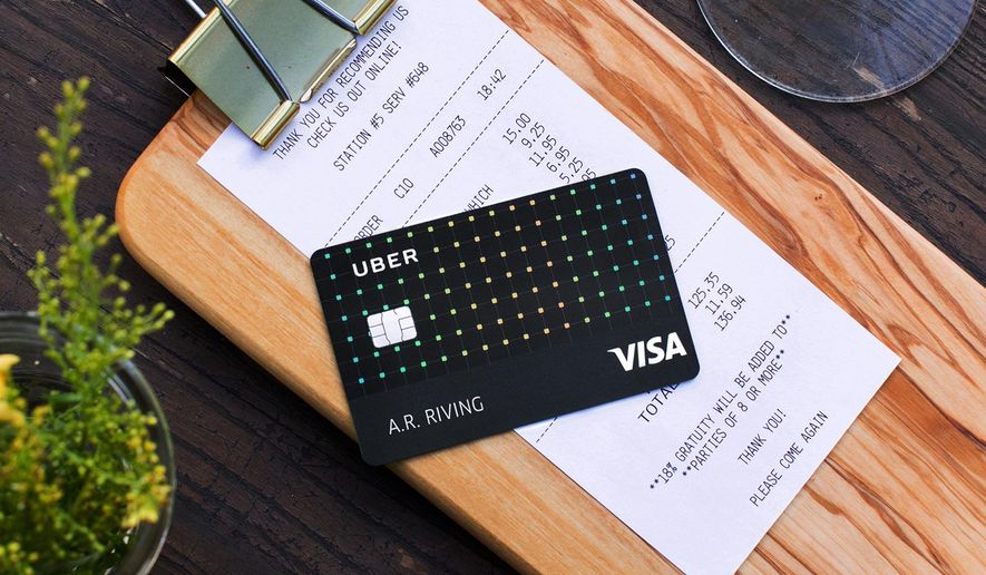 This photo provided by Uber shows an Uber Visa credit card. On Wednesday, Oct. 25, 2017, Uber unveiled a no-fee, co-branded credit card with British bank Barclays. (Courtesy of Uber via AP)