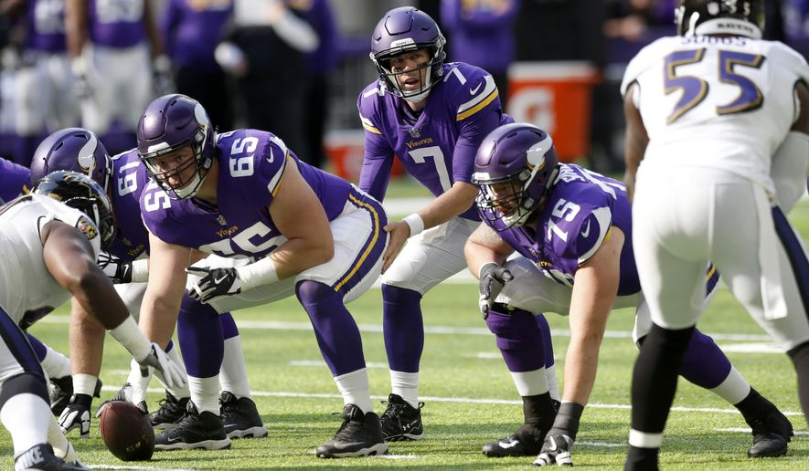 FILE - In this Sunday, Oct. 22, 2017, file photo, Minnesota Vikings quarterback Case Keenum (7) calls a play at the line of scrimmage during the first half of an NFL football game against the Baltimore Ravens in Minneapolis. The biggest concern about the Vikings at the beginning of the season has been alleviated for now with a solid performance by an offensive line that was beleaguered in 2016. Being healthy was a good start.  (AP Photo/Jim Mone, File)