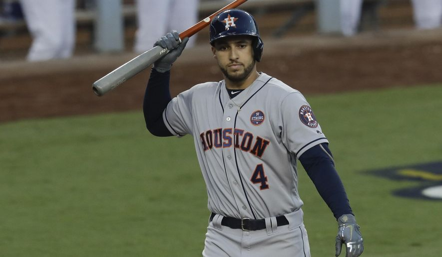 Houston Astros' George Springer reacts after striking out during the third inning of Game 1 of baseball's World Series against the Los Angeles Dodgers Tuesday, Oct. 24, 2017, in Los Angeles. (AP Photo/Alex Gallardo)