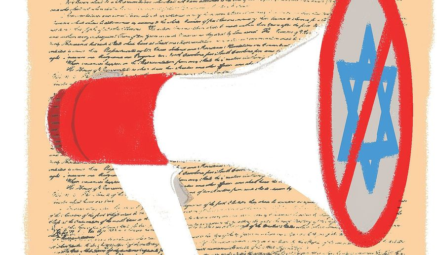 Illustration on the constitutionality of boycotts and protests by Linas Garsys/The Washington Times
