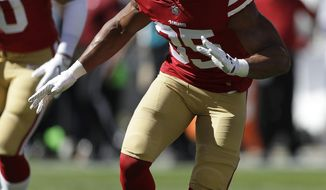 FILE - In this Sunday, Oct. 22, 2017, file photo, San Francisco 49ers safety Eric Reid (35) warms up before an NFL football game against the Dallas Cowboys in Santa Clara, Calif.  Reid began the season as San Francisco's starting strong safety before being sidelined by an injured knee. He returned two weeks ago on a limited basis before getting much more time last week, although at a new position, weakside linebacker. (AP Photo/Marcio Jose Sanchez, File)