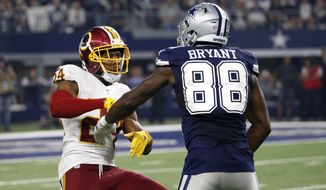 Washington Redskins' Josh Norman (24) and Dallas Cowboys' Dez Bryant (88) match up against each other in the second half of an NFL football game, Thursday, Nov. 24, 2016, in Arlington, Texas. (AP Photo/Michael Ainsworth