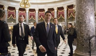 Speaker of the House Paul Ryan, R-Wis., strides to the chamber for the vote on the $4 trillion budget measure that will pave the way for a sweeping GOP tax overhaul, on Capitol Hill in Washington, Thursday, Oct. 26, 2017. (AP Photo/J. Scott Applewhite)