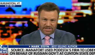 "Conservative commentator Mark Steyn joked with Fox News Channel's Tucker Carlson on Oct. 25, 2017, that President Trump seems to be the only person in politics who has not ""colluded"" with Russia. (Image: Fox News screenshot)"