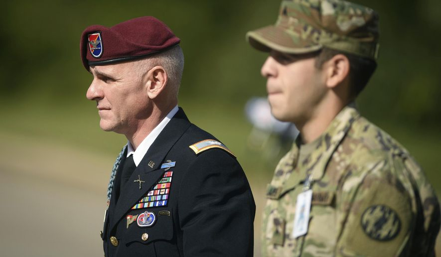 Col. Clinton Baker leaves the Fort Bragg courthouse after testifying in Army Sgt. Bowe Bergdahl's sentencing hearing on Wednesday, Oct. 25, 2017, on Fort Bragg, N.C. Bergdahl, who walked off his base in Afghanistan in 2009 and was held by the Taliban for five years, pleaded guilty to desertion and misbehavior before the enemy last week and faces a maximum of life in prison. Baker was Bergdahl's battalion commander during the 2009 deployment.  (Andrew Craft /The Fayetteville Observer via AP)