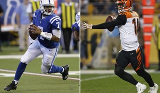 FILE - At left, in an Oct. 22, 2017, file photo, Indianapolis Colts quarterback Jacoby Brissett (7) looks to pass against the Jacksonville Jaguars during the second half of an NFL football game in Indianapolis. At right, also in an Oct. 22, 2017, file photo, Cincinnati Bengals quarterback Andy Dalton (14) plays in an NFL football game against the Pittsburgh Steelers, in Pittsburgh. The Colts play at the Bengals on Sunday. (AP Photo/File)