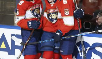 Florida Panthers right wing Owen Tippett, center, celebrates with left wing Jamie McGinn (88) and defenseman Alex Petrovic (6) after Tippett scored his first NHL goal against the Anaheim Ducks during the first period of an NHL hockey game, Thursday, Oct. 26, 2017 in Sunrise, Fla. (AP Photo/Wilfredo Lee)