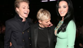 Ellen DeGeneres is being criticized on social media after she tweeted a birthday shoutout to Katy Perry that included a photo of herself gawking at the pop singer's breasts. (Twitter/@TheEllenShow)
