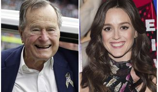 """In this combination photo, former president George H.W. Bush appears at an NFL football game in Houston between the Buffalo Bills and the Houston Texans on Nov. 4, 2012, left, and actress Heather Lind appears at AMC's """"Turn: Washington's Spies"""" season three premiere event in New York on April 20, 2016. Lind accused former President George H.W. Bush of touching her from behind while she was posing for a photo alongside him and telling her a dirty joke at a Houston event in 2014. The former president's office apologized Wednesday and offered an explanation. (AP Photo/File)"""