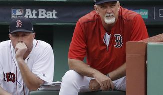 FILE - In this Oct. 9, 2017, file photo, Boston Red Sox bench coach Gary Disarcina, left, and pitching coach Carl Willis watch from the dugout during the sixth inning in Game 4 of baseball's American League Division Series against the Houston Astros, in Boston. The Cleveland Indians have hired Carl Willis as their pitching coach to replace Mickey Callaway, who left to manage the New York Mets. Willis is back for his second stint with the club. He served as Cleveland's pitching coach from 2003-09, when he tutored Cy Young pitchers CC Sabathia and Cliff Lee among others. The 56-year-old Willis spent the past two seasons with the Boston Red Sox. (AP Photo/Charles Krupa, File)