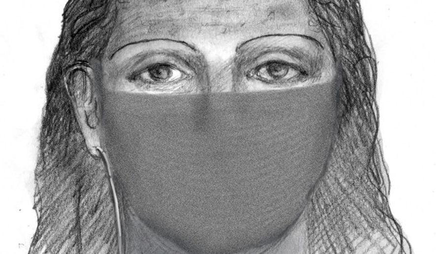 This sketch released by the FBI shows one of two suspects in the mysterious case of a young mother who was found battered and bruised but alive along a freeway after she was missing for three weeks. Sheriff's Sgt. Brian Jackson said the sketches are being released 10 months after Sherri Papini disappearance because of Papini's difficulty in recalling what her abductors looked like. Papini disappeared Nov. 2, 2016, while jogging near her home in Shasta County, about 215 miles (350 kilometers) north of San Francisco. (FBI via AP)