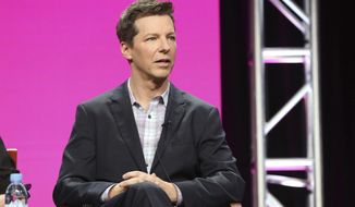 "FILE - In this Aug. 3, 2017, file photo, Sean Hayes participates in the ""Will & Grace"" panel during the NBC Television Critics Association Summer Press Tour at the Beverly Hilton in Beverly Hills, Calif. Hayes told Ellen DeGeneres on her chat show Oct. 25, 2017, that he was hospitalized earlier in the month after his small intestine burst. (Photo by Willy Sanjuan/Invision/AP, File)"