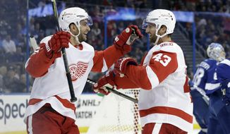 Detroit Red Wings center Frans Nielsen, of Denmark,, left, celebrates his goal against the Tampa Bay Lightning with left wing Darren Helm during the first period of an NHL hockey game Thursday, Oct. 26, 2017, in Tampa, Fla. (AP Photo/Chris O'Meara)