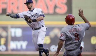 "FILE - In this Thursday, Sept. 28, 2017 file photo, Milwaukee Brewers' Eric Sogard throws to first after forcing out Cincinnati Reds' Jose Paraza at second during the sixth inning of a baseball game in Milwaukee. The Milwaukee Brewers have signed infielder Eric Sogard to a one-year contract. He was eligible to become a free agent after the World Series. General manager David Stearns said Thursday, Oct. 26, 2017 that Sogard provides a ""veteran presence"" and is someone who can play several positions and get on base often.(AP Photo/Tom Lynn, File)"