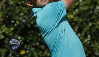 Andrew Landry hits his tee shot on the first hole during the first round of the Sanderson Farms Championship golf tournament in Jackson, Miss., Thursday, Oct. 26, 2017. (AP Photo/Rogelio V. Solis)