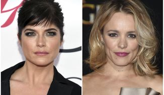 "This combination photo shows actress Selma Blair at the CFDA Fashion Awards in New York on June 6, 2016, left, and actress Rachel McAdams at the Los Angeles premiere of ""Doctor Strange"" on Oct. 20, 2016.  In a Vanity Fair interview published Thursday, Oct. 26, 2017, Blair and McAdams have alleged that writer and director James Toback sexually harassed them. (AP Photo/File)"