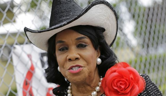 Rep. Frederica Wilson, D-Fla., talks to reporters in Miami Gardens, Florida, Oct. 18, 2017. (AP Photo/Alan Diaz) ** FILE **