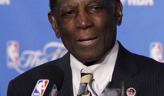 FILE - In this Sunday, June 4, 2017 file photo, former Golden State Warriors head coach Al Attles speaks at a news conference about receiving the NBA Coaches Association's Chuck Daly Lifetime Achievement Award before Game 2 of basketball's NBA Finals between the Warriors and the Cleveland Cavaliers in Oakland, Calif. Former Warriors coach and current ambassador for the franchise Al Attles is hospitalized and will miss Friday night, Oct. 27, 2017 game when the defending champions are celebrating his contributions to the organization.  (AP Photo/Marcio Jose Sanchez, File)