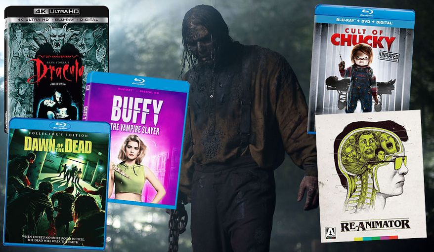 "Just in time for Halloween, reviews of "" Re-Animator: Limited Edition,"" "" Dawn of the Dead: Collector's Edition,"" ""Cult of Chucky,"" ""The Cabin in the Woods,"" ""Bram Stoker's Dracula: 25th Anniversary Edition"" and  ""Buffy the Vampire Slayer: 25th Anniversary Edition."""