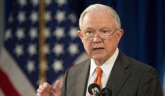 Attorney General Jeff Sessions discusses the opioid crisis, Friday, Oct. 27, 2017, at John F. Kennedy International Airport in New York. (AP Photo/Mark Lennihan) ** FILE **