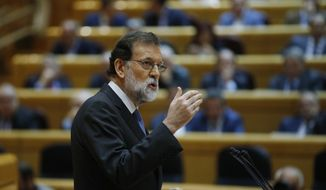 Spain's Prime Minister Mariano Rajoy makes a speech at the Senate in Madrid, Spain, Friday, Oct. 27, 2017. Rajoy has appealed to the country's Senate to grant special constitutional measures that would allow the central government to take control of Catalonia's autonomous powers to try to halt the region's independence bid. (AP Photo/Paul White)
