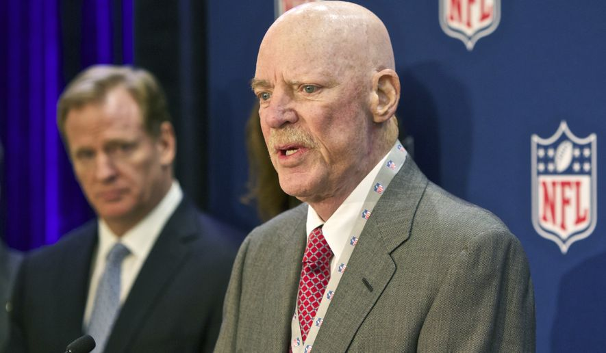"""In this Dec. 10, 2014, file photo Houston Texans owner Bob McNair speaks at an NFL press conference during an owners meeting, in Irving, Texas. At left is NFL commissioner Roger Goodell. McNair has apologized after a report said he declared """"we can't have the inmates running the prison"""" during a meeting of NFL owners over what to do about players who kneel in protest during the national anthem.  (AP Photo/Brandon Wade, File)"""