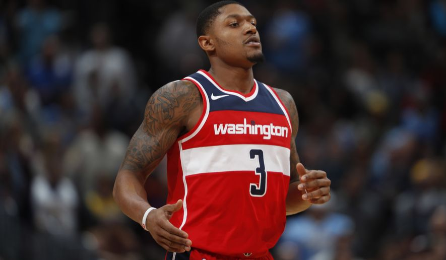 Washington Wizards guard Bradley Beal (3) in the second half of an NBA basketball game Monday, Oct. 23, 2017, in Denver. The Wizards won 109-104. (AP Photo/David Zalubowski)