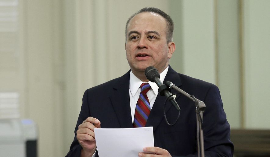 """In this May 4, 2017 file photo, Assemblyman Raul Bocanegra, D-Los Angeles, speaks at the Capitol in Sacramento, Calif. Bocanegra is apologizing for sexually harassing a woman in 2009 when he was a legislative staff member. He is the first sitting California lawmaker to be publicly identified for facing discipline over sexual harassment allegations since a letter was circulated last week saying there is a """"pervasive"""" culture of sexual harassment at the Capitol. Bocanegra was quoted in the Los Angeles Times Friday, Oct. 27, 2017 that he is """"deeply regretful."""" (AP Photo/Rich Pedroncelli, File)"""