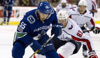 Vancouver Canucks' Alex Biega, left, battles for the puck with Washington Capitals' Jay Beagle during the second period of an NHL hockey game in Vancouver, British Columbia, Thursday, Oct. 26, 2017. (Ric Ernst/The Canadian Press via AP)