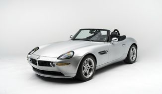 In this 2017 photo provided by RM Sotheby's, a 2000 BMW Z8 owned bay Steve Jobs is shown. The Apple founder's convertible is among 30 lots being offered by a variety of consignors at the Dec. 6, 2017 RM Sotheby's automotive auction in New York. (Karissa Hosek/RM Sotheby's via AP)