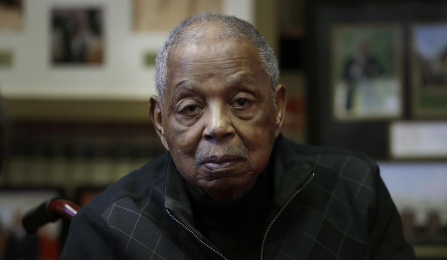 """In this Tuesday, Oct. 17, 2017, Judge Damon J. Keith is interviewed in his office in Detroit. Keith, marking 50 years as a federal judge, says he's driven by two maxims: """"Treat everyone with dignity"""" and """"Equal justice under law."""" The 95-year-old from Detroit said the second has been his calling since attending law school at Howard University, where professor and future Supreme Court Justice Thurgood Marshall implored students to go out and enforce it. (AP Photo/Carlos Osorio)"""