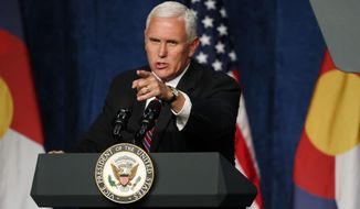 Vice President Mike Pence speaks during a fundraising event for the Republican Party on Thursday, Oct. 26, 2017, in Greenwood Village, Colo. (AP Photo/David Zalubowski)