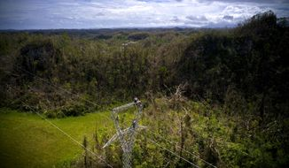 FILE - In this Oct. 15, 2017, file photo, Whitefish Energy Holdings workers stand on towers to restore lines damaged by Hurricane Maria in Barceloneta, Puerto Rico. The Trump administration said Oct. 27 it had no involvement in the decision to award a $300 million contract to help restore Puerto Rico's power grid to a tiny Montana company in Interior Secretary Ryan Zinke's hometown. White House spokesman Raj Shah said that federal officials played no role in the selection of Whitefish Energy Holdings by the Puerto Rico Electric Power Authority.(AP Photo/Ramon Espinosa, File)