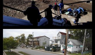 This combination of photos shows church-goers leaving Mass in the New Dorp neighborhood of Staten Island, N.Y., Sunday, Nov. 4, 2012, amid destruction caused by Superstorm Sandy and the same view five years later on Wednesday, Oct. 11, 2017. (AP Photo/Seth Wenig)