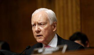 In this July 12, 2017, file photo, Sen. Orrin Hatch, R-Utah, speaks on Capitol Hill in Washington. (AP Photo/Pablo Martinez Monsivais, File)