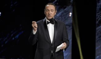 Kevin Spacey presents the award for excellence in television at the BAFTA Los Angeles Britannia Awards at the Beverly Hilton Hotel on Friday, Oct. 27, 2017, in Beverly Hills, Calif. (Photo by Chris Pizzello/Invision/AP)