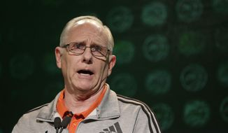 Miami head coach Jim Larranaga answers a question during the Atlantic Coast Conference men's NCAA college basketball media day in Charlotte, N.C., Wednesday, Oct. 25, 2017. (AP Photo/Chuck Burton)
