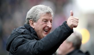 Crystal Palace manager Roy Hodgson gestures, prior to the start of the English Premier League soccer match between Crystal Palace and West Ham United, at Selhurst Park, in London, Saturday Oct. 28, 2017. (John Walton/PA via AP)