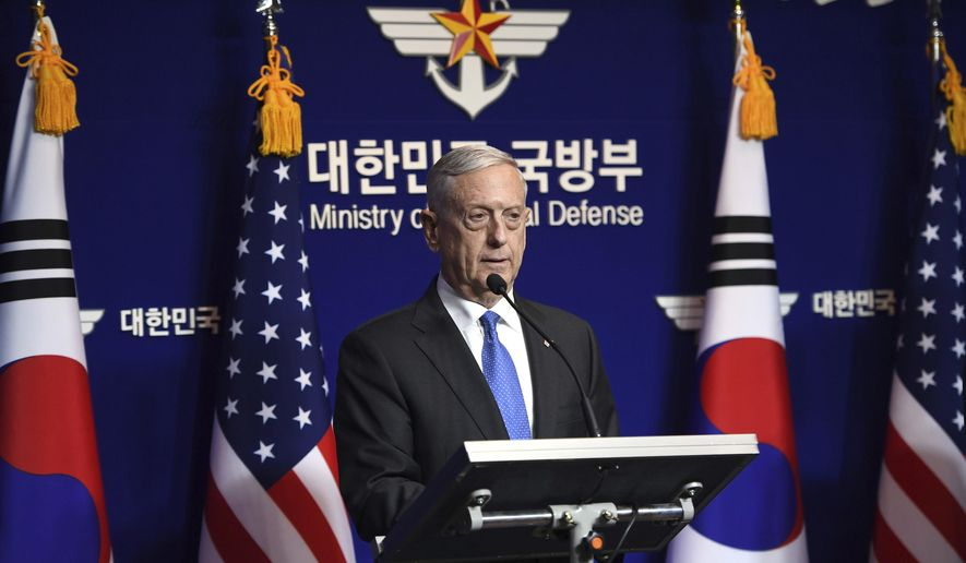U.S. Secretary of Defense Jim Mattis speaks during a joint press conference with South Korea's Defense Minister Song Young-moo after the Security Consultative Meeting (SCM) at the Defense Ministry, Saturday, Oct. 28, 2017, in Seoul, South Korea. During the briefing Mattis says the threat of nuclear missile attack by North Korea is accelerating. (Jung Yeon-Je/Pool Photo via AP)