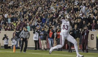 Mississippi State tight end Jordan Thomas (83) catches a pass for a touchdown against Texas A&M during the third quarter of an NCAA college football game on Saturday, Oct. 28, 2017, in College Station, Texas. (AP Photo/Sam Craft)