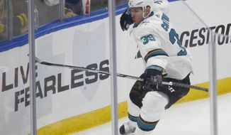 San Jose Sharks forward Logan Couture (39) celebrates his game winning goal during the third period of an NHL hockey game against the Buffalo Sabres, Saturday Oct. 28, 2017, in Buffalo, N.Y. The Sharks won 3-2.  (AP Photo/Jeffrey T. Barnes)