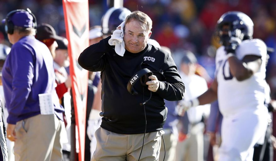 TCU head coach Gary Patterson walks on the sideline during the first half of an NCAA college football game against Iowa State, Saturday, Oct. 28, 2017, in Ames, Iowa. (AP Photo/Charlie Neibergall)