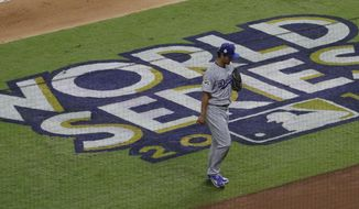 Los Angeles Dodgers starting pitcher Yu Darvish leaves the game during the second inning of Game 3 of baseball's World Series against the Houston Astros Friday, Oct. 27, 2017, in Houston. (AP Photo/Eric Gay)