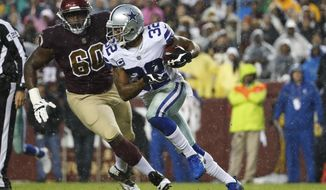 Dallas Cowboys cornerback Orlando Scandrick (32) carries the ball during the first half of an NFL football game in Landover, Md., Sunday, Oct. 29, 2017. (AP Photo/Alex Brandon)