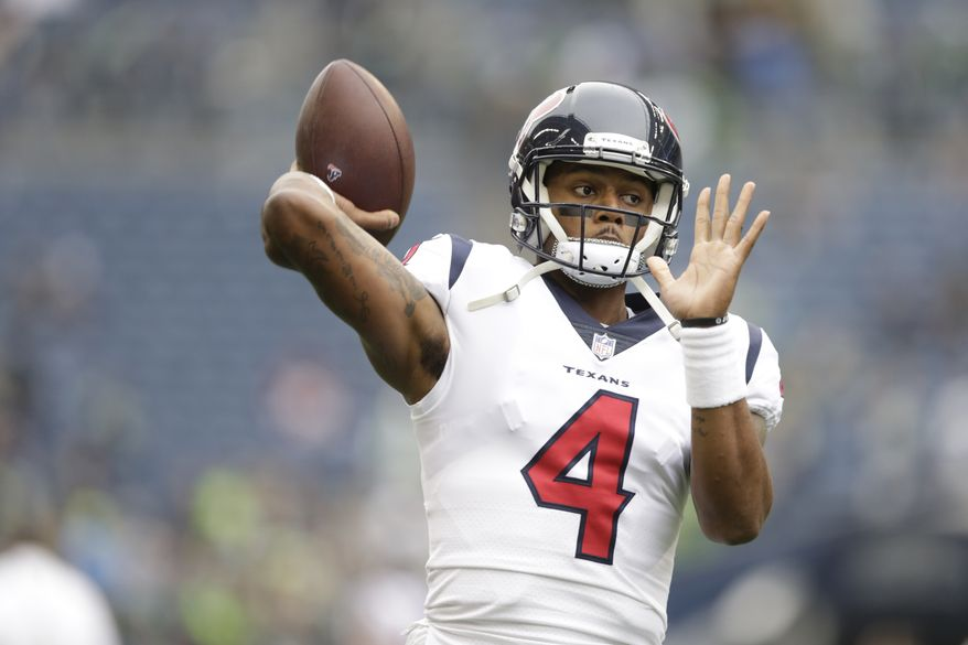 Houston Texans quarterback Deshaun Watson on the field during warmups before an NFL football game against the Seattle Seahawks, Sunday, Oct. 29, 2017, in Seattle. (AP Photo/Stephen Brashear) **FILE**