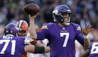 Minnesota Vikings quarterback Case Keenum (7) passes the ball during the first half of an NFL football game against Cleveland Browns at Twickenham Stadium in London, Sunday Oct. 29, 2017. (AP Photo/Matt Dunham)